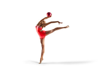 Rhythmic gymnastics isolated on white
