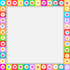 Cute square love border made of hand drawn hearts in bright colors isolated.
