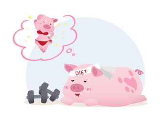 lazy sleeping dieted pig dream conceptual illustration vector