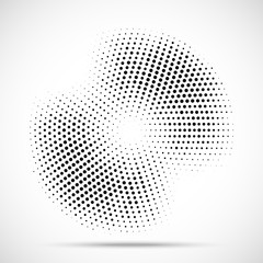 Wall Mural - Halftone circle frame dotted background. Round border Icon using halftone circle dots raster texture. Grunge circular stain. Vector illustration.