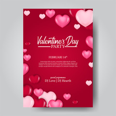Happy Valentine day party poster template with 3D pink hearth balloon. Vector illustration