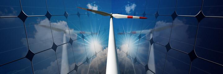 Wind turbine between two solar panels