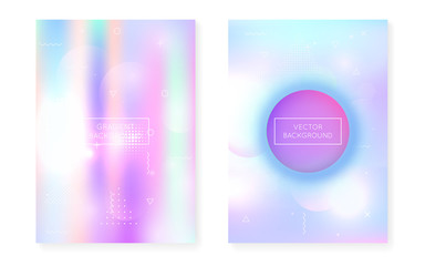 Memphis gradient set with liquid shapes. Dynamic holographic fluid with bauhaus background.