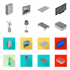 Vector illustration of bedroom and room logo. Set of bedroom and furniture stock symbol for web.