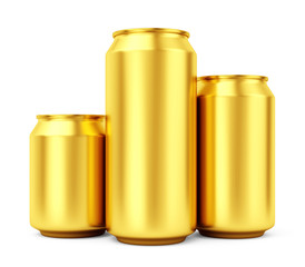 Three blank gold beer cans isolated on white