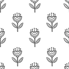 Vector seamless pattern with hand drawn floral elements on white background