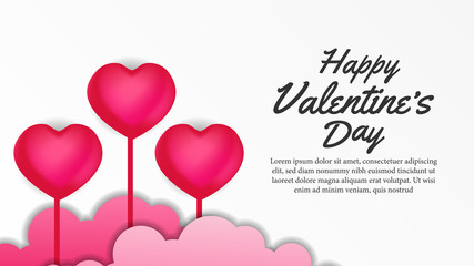 valentine day banner template with hearth balloon. vector illustration