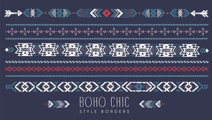 Deurstickers Boho Stijl vintage vector illustration boho chic style borders