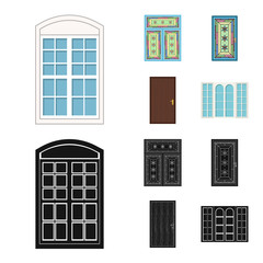 Vector design of door and front logo. Collection of door and wooden vector icon for stock.