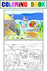 wetland landscape with animals coloring book and color raster for adults