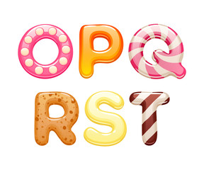 Decorated sweets abc letters set.