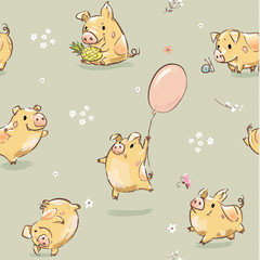 Funny Happy Pig Seamless Pattern Illustration. Cute Print with Piggy Character Fly on Balloon, Hold Pineapple get Fun. Summer Childish Greeting Set Symbol of 2019 Year Vector for Wrapping Paper