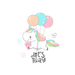 Cute Baby Unicorn Fly on Balloon Dream Card Design. Magic Fantasy Pony Character Holding Gift Box Birthday Banner Can be used for t-shirt print, kids wear fashion design, baby shower invitation card.