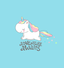 Positive Baby Unicorn Fly to Adventure Print. Morning Motivational Inspiration Summer Poster Colorful Design . Funny Cute Fantasy Pegasus Card Flat Cartoon Vector Illustration