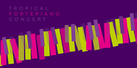 night tropical colors invitation for music concert