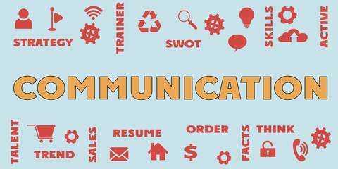 COMMUNICATION Panoramic Banner with icons and tags, words. Hi tech concept. Modern style
