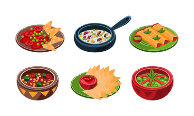 Collection of Mexican traditional food dishes vector Illustration on a white background