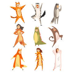 Collection of funny people in animal costumes, men and women in jumpsuits or kigurumis having fun vector Illustration on a white background