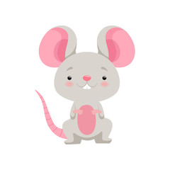 Cute mouse, funny animal cartoon character vector Illustration on a white background