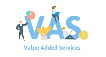 VAS, Value Added Services. Concept with keywords, letters, and icons. Colored flat vector illustration. Isolated on white background.