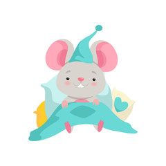 Cute mouse in a nightcap lying in bed, funny animal cartoon character vector Illustration on a white background