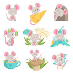 Cute mouse in different situations set, funny animal cartoon character vector Illustration on a white background