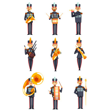 Soldiers playing musical instruments set, members of army military band in blue uniform vector Illustration on a white background