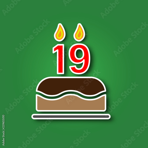 Birthday Cake With A Candle In The Form Of Number 19 Sticker Shadow Icon Happy Concept Symbol Design