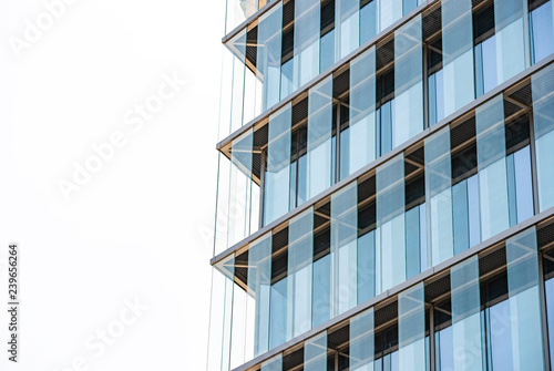 Details of glass curtain wall of modern high-rise buildings