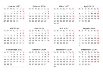 einfache Kalendervorlage, 2020, Querformat
