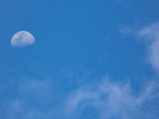 The moon between the clouds