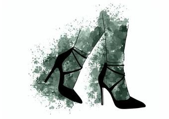 girls in high heels. Fashion illustration. Female legs in shoes. Cute design. Trendy picture in vogue style. Fashionable women. Stylish ladies.