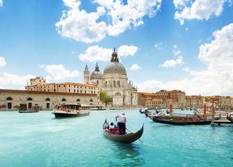Aluminium Prints Venice Grand Canal and Basilica Santa Maria della Salute, Venice, Italy and sunny day