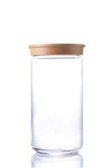 empty glass jar isolated on white background with clipping path and copy space for your text