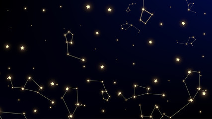 Constellation Map. Mystic Cosmic Sky with Many Stars.     Astronomical Print. Night Galaxy Pattern. Vector Stars Background.
