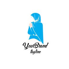 Feminine fashion hijab logo template