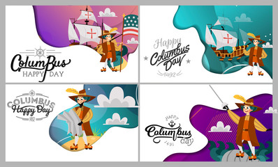 Columbus Day set with ship map helm compass symbols greeting card lettering text logo design