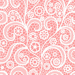 White lace seamless pattern with flowers, Vintage pattern.