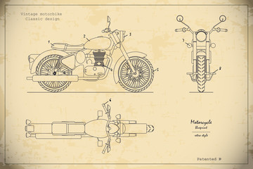 Blueprint of retro classic motorcycle in outline style. Side, top and front view. Industrial drawing of vintage motorbike