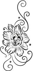 Ranke mit großer Blüte, schwarz. Blume mit femininen und filigranem Tribal Tattoo Ornament.