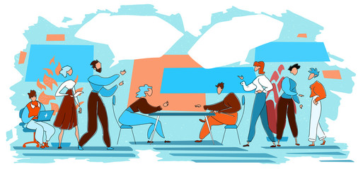 Businessmen debating, comparing two ideas, things or strategies. Communication, discussion and comparison concept.  Hand drawn illustration with speech bubbles