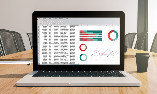 spreadsheet screen laptop on conference room mockup