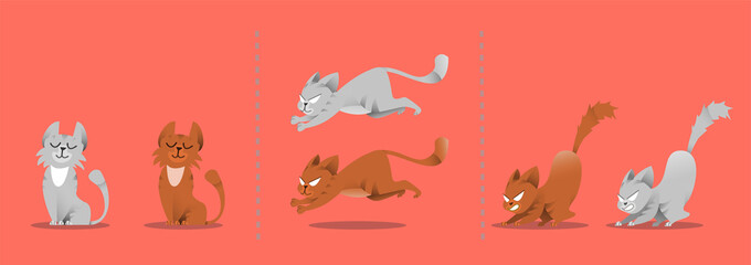 Set of cat poses. Kitten plays, jumps on a smart vacuum cleaner. Vector collection set of different gray and red cats. Isolated animals for web design