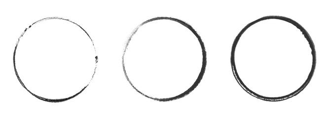 Photo sur Plexiglas Spirale Drei schwarze handgemalte Kreise