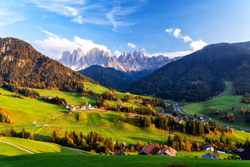 Fototapete - Santa Maddalena village with magical Dolomites mountains in background, Val di Funes valley, Trentino Alto Adige region, Italy, Europe. Sunset view of dramatic Italian Dolomites landscape.