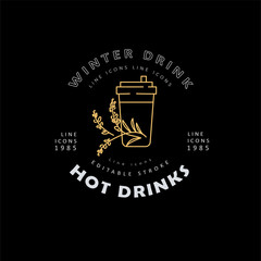 Vector icon and logo hot drinks for cold weather, merry Christmas and Happy New Year . Editable outline stroke size. Line flat contour, thin and linear design. Simple icons. Concept illustration. Sign