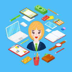 businesswoman and office stationary