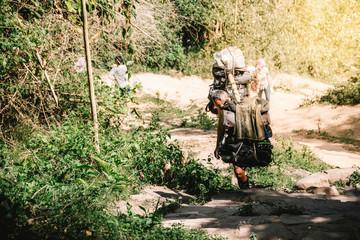 Thailand call Look hab or a person carrying a mercenary Carrying a mountain. Phukradung, Phu Kradueng National Park, Loei province, Thailand.