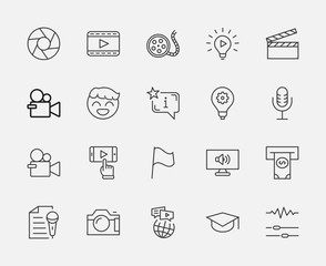 International Film Day Set Line Vector Icons. Contains such Icons as Clapperboard, Camera, Video, Play, Film, Lens, Microphone, Media settings and more. Editable Stroke. 32x32 Pixel Perfect