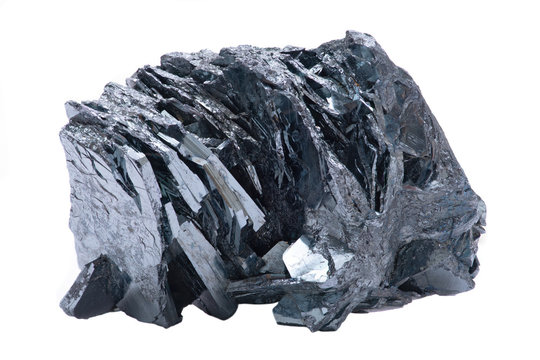Unique bright and shiny metallic gray Hematite Formation From Utah, isolated on white background